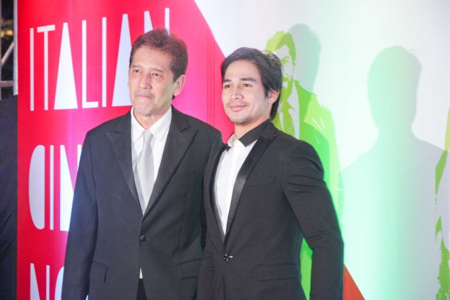 from left: Star Magic Chairman Emeritus Johnny Manahan and Piolo Pascual. The Moviemov: Italian Film Fest rolled out the red carpet at the Ayala Museum and GB3 cinema. Photo by Jude Bautista.