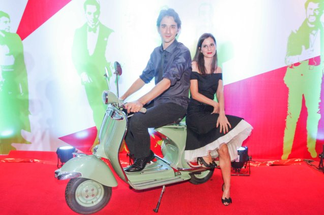 Davide Iacopini (Diaz) and Serena Foddis pose on a fully restored Vespa PX150. The Moviemov: Italian Film Fest rolled out the red carpet at the Ayala Museum and GB3 cinema. Photo by Jude Bautista.