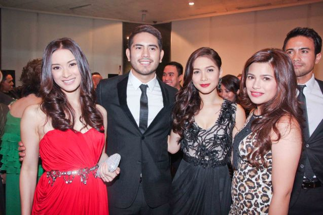 from left: Maricar Reyes, Gerald Anderson, Maja Salvador, Denise Laurel and Sam Milby. The Moviemov: Italian Film Fest rolled out the red carpet at the Ayala Museum and GB3 cinema. Photo by Jude Bautista.