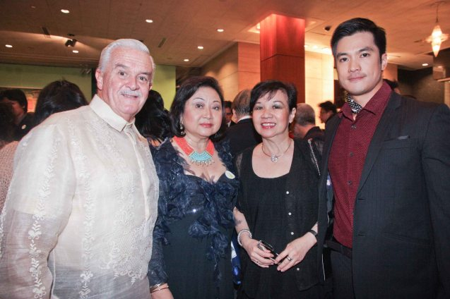 from right: Diether Ocampo, Phil Star EVP Grace Glory Go, Rustan's Pres. Nedy Tantoco and Mario Borao. The Moviemov: Italian Film Fest rolled out the red carpet at the Ayala Museum and GB3 cinema. Photo by Jude Bautista.