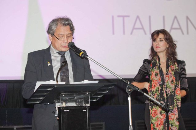 FDCP Chair Briccio Santos and Moviemov Godmother Vanessa Gravina. The Moviemov: Italian Film Fest rolled out the red carpet at the Ayala Museum and GB3 cinema. Photo by Jude Bautista.