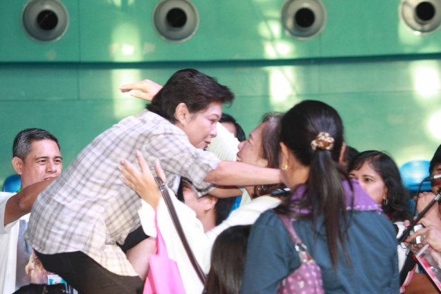 Nora hug's loyal admirers during fan's day in SM North EDSA. Photo by Jude Bautista