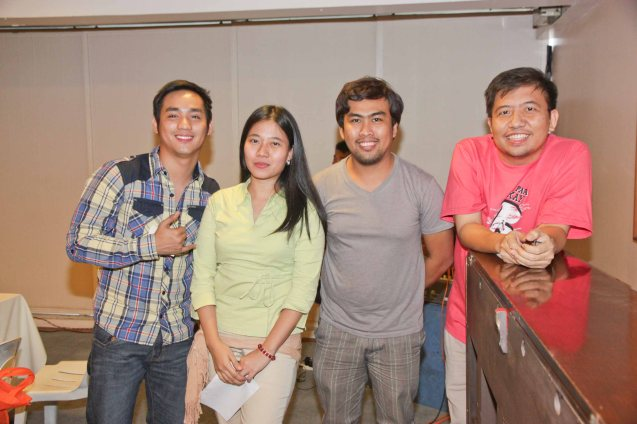 from left: Lucky Mercado with PRIMA BELLA team Kristin Joy Bactad, Direk Richard Legaspi and Seymour Barros Sanchez during Cinemalaya auditions held last January 20. The actual fest will run from July 26 to August 4, 2013 and will screen films not just at the CCP but also in Greenbelt and TRINOMA malls. Photo by Jude Bautista