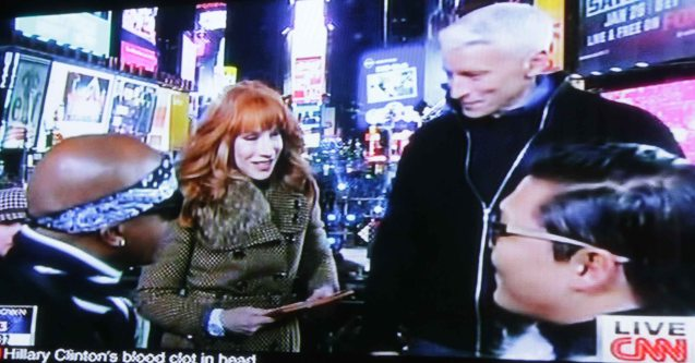 From right: PSY, Anderson Cooper, Kathy Griffin and MC Hammer at the New Year's Eve celebration on Times Square.