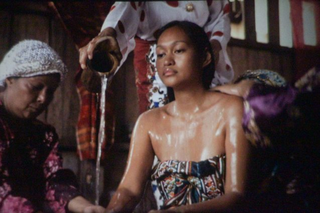 Mercedes Cabral (Ayesha) is bathed by Nora Aunor (Shaleha) in a cleansing ritual before her wedding. Pic is from Brillante Medoza's award winning film THY WOMB.