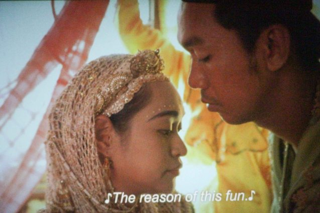 Nurjay Sahali (the groom) sees his Mercedes Cabral (Ayesha) for the first time in her bridal gown in Brillante Medoza's award winning film THY WOMB.