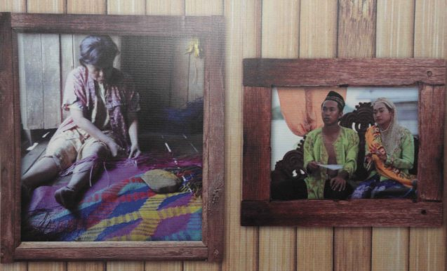 Left: Nora Aunor (Shahela) weaves banig or sleeping mat in Brillante Medoza's award winning film THY WOMB.
