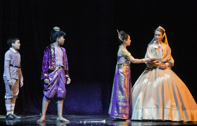 from right: Menchu Lauchengco-Yulo (Anna), Gina Respall (Lady Thiang), Anton Posadas (Prince Chulalongkorn) and James Ketcher (Louis). KING AND I is extended at the New Port Performing Arts Theater in Resort's World Manila until May 2013. Photo by Jude Bautista