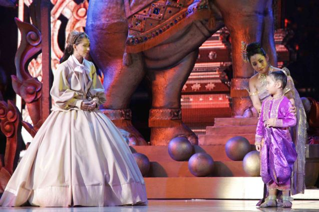 from left: Menchu Lauchengco-Yulo (Anna) will miss Audrey Sy (King's daughter) with Gina Respall (Lady Thiang). KING AND I is extended at the New Port Performing Arts Theater in Resort's World Manila until May 2013. Photo by Jude Bautista