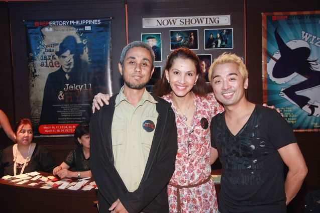 from right: F.I.M. members Rem Zamora, Menchu Lauchengco-Yulo and friend. Photo was taken during REPERTORY Phil.'s Jekyll & Hyde preview that Yulo directed last March 2012. Photo by Jude Bautista