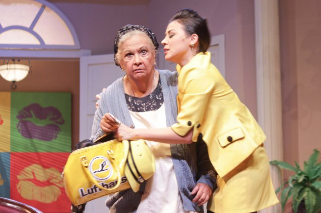 from left: REP founder Baby Barredo (Bertha) and Carla Dunareanu (Gretchen).  Repertory Phil's BOEING BOEING will run up to Feb 17, 2013 at t ONSTAGE Greenbelt. Photo by Jude Bautista