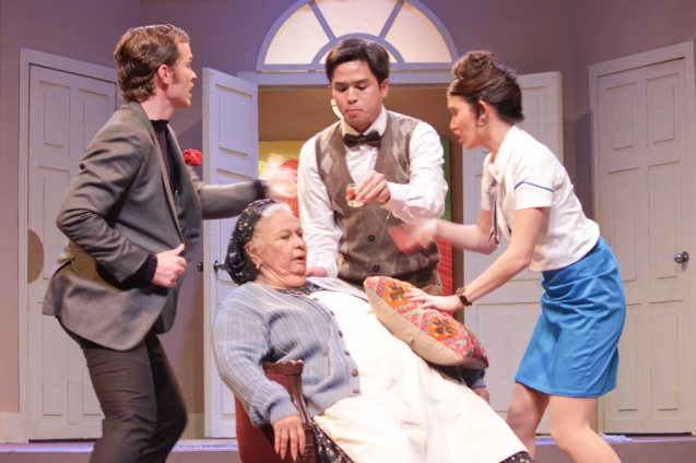 seated: REP founder Baby Barredo (Bertha), standing from left: David Bianco, Topper Fabregas (Robert) and Giannina Ocampo (Gabriella). Repertory Phil's BOEING BOEING will run up to Feb 17, 2013 at t ONSTAGE Greenbelt. Photo by Jude Bautista