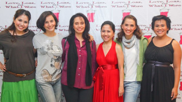 """Cast members of """"Love, Loss and What I Wore"""" from left: Cathy Azanza-Dy  (Nancy/Heather), Liza Infante-Robinson (Eve, Merrill, Liz), Jay Valencia-Glorioso (Gingy), Producer Ria Pangilinan, Menchu Lauchengco-Yulo (Annie, Stephanie, Geralyn) and Bituin Escalante (Holly/Mary/ Nora). The play ran during Menchu's tenure as Associate Artistic Director for Rep last January 2012. Photo by Jude Bautista."""