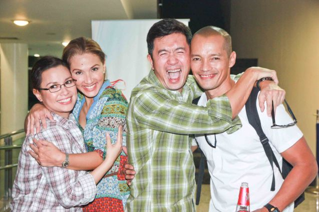 GOD OF CARNAGE couples switch from left: Lea Salonga, Menchu Lauchengco-Yulo, Adrian Pang and Art Acuña. The play under ATLANTIS Productions ran July 2012 during Menchu's tenure as Associate Artistic Director for Rep. Photo by Jude Bautista.