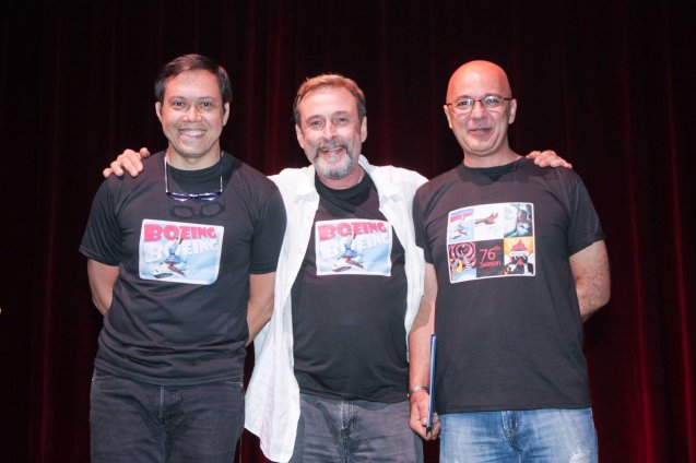 from left: Michael Williams, BOEING BOEING director Miguel Faustmann and Michael De Mesa. Michael De Mesa had to bow out from BOEING BOEING because of INDIO. Michael Williams is part of Friends in Music (F.I.M) with Menchu.  Photo was taken at the REP 2013 season launch by Jude Bautista.