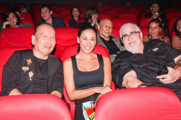 from left: Direk Jose Javier Reyes, Cherie Gil and Direk Peque Gallaga during the screening of the restored ORO PLATA MATA which opened the Cinema One film fest, Nov 28, 2012. Photo by Jude Bautista