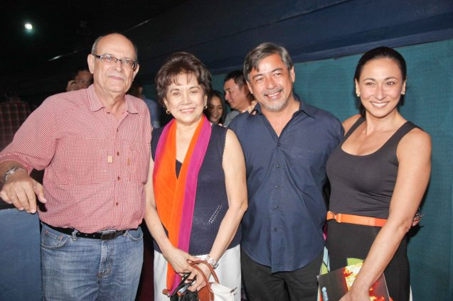 ORO PLATA MATA reunion from right: Cherie Gil, Joel Torre, Fides Cuyugan-Asencio and Jimmy Fabregas. The film opened the Cinema One film fest, Nov 28, 2012. Photo by Jude Bautista