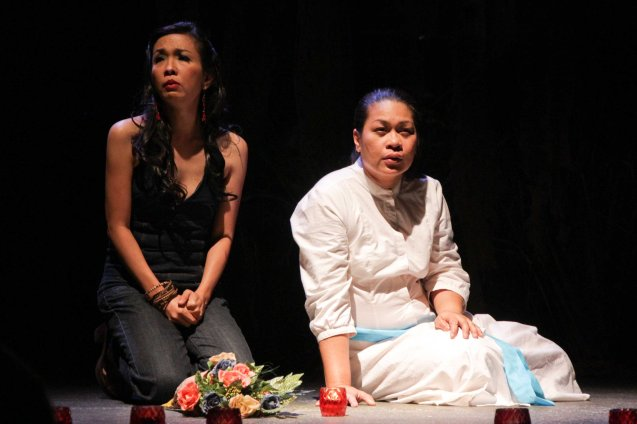 from left: Isay Alvarez (Nimia) and May Bayot (Elsa). Catch HIMALA the Musical's 10th Anniversary run at PETA from March 15-March 24, 2013. Photo by Jude Bautista