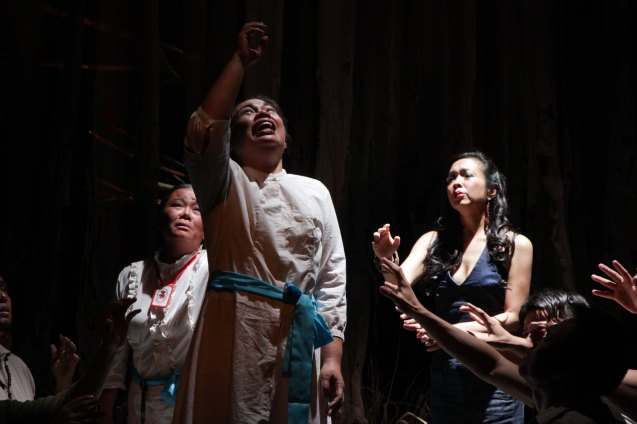 from left: Dulce (Aling Saling) , May Bayot (Elsa) and Isay Alvarez (Nimia). Catch HIMALA the Musical's 10th Anniversary run at PETA from March 15-March 24, 2013. Photo by Jude Bautista