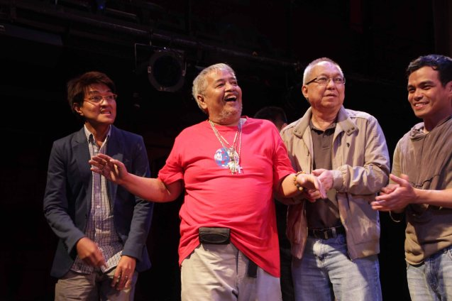 from left: Composer and Musical Director Vincent De Jesus, Director Soxie Topacio, Ricky Lee (Librettist) and Bong Cabrera (Mayor). Catch HIMALA the Musical's 10th Anniversary run at PETA from March 15-March 24, 2013. Photo by Jude Bautista