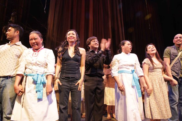 Cast applauds pianist Jed Balsamo (center in black) from left: Myke Salomon (Pilo),  Dulce (Aling Saling) , Isay Alvarez (Nimia), May Bayot (Elsa), Cynthia Culig-Guico (Chayong) and OJ Mariano (Orly). Catch HIMALA the Musical's 10th Anniversary run at PETA from March 15-March 24, 2013. Photo by Jude Bautista