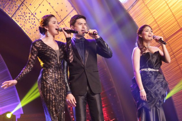Performers from left: Julie San Jose, Christian Bautista and Garrie Concepcion during the 61st FAMAS April 21, 2013, AFP Theater. Photo by Jude Bautista
