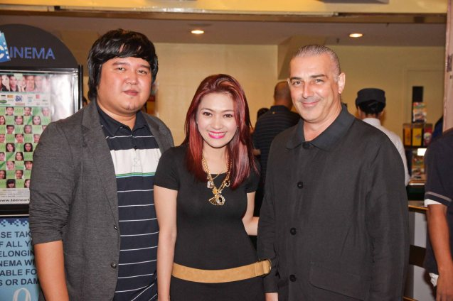 from left: Director Ian Del Carmen, Kristindera of Love Radio and Executive producer Tim Bennet. BAD ROMANCE is out in theaters starting April 10, 2013. Photo By Jude Bautista