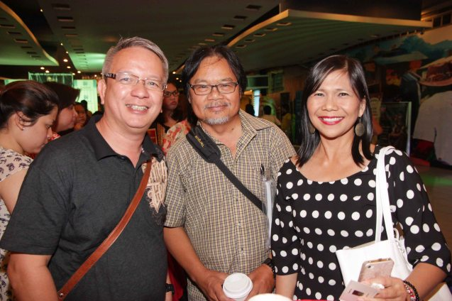 from left: Mario Dumaual , Abe Pagtama and friend. BAD ROMANCE is out in theaters starting April 10, 2013. Photo By Jude Bautista
