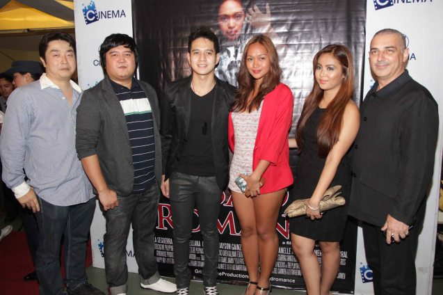 BAD ROMANCE cast from left: Shingo Hongu (Hitoshi Nakamura), Director Ian Del Carmen, Francis Lopez (Sam Lloyd Pascual), Mercedes Cabral (Andrea Maglalang), Janelle Manahan (Sarah Alonzo) and Executive Producer Tim Bennett. BAD ROMANCE is out in theaters starting April 10, 2013. Photo By Jude Bautista