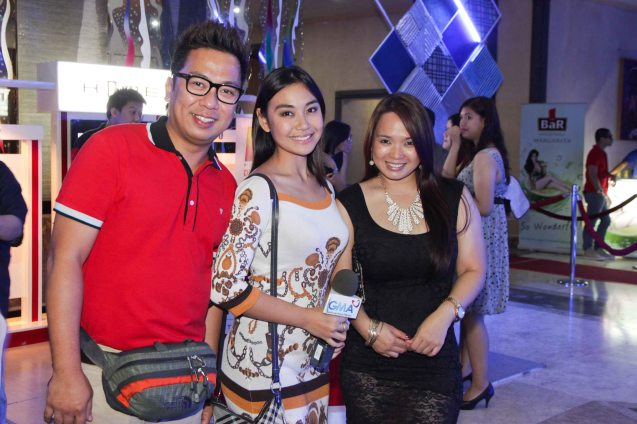 From left: TV5 reporter Jeff Fernando, GMA 7 reporter Cata Tibayan and DDB Phil PR Manager Millet Liberato. Photo was taken, at the 61st FAMAS last night April 21, 2013, AFP Theater. Photo by Jude Bautista