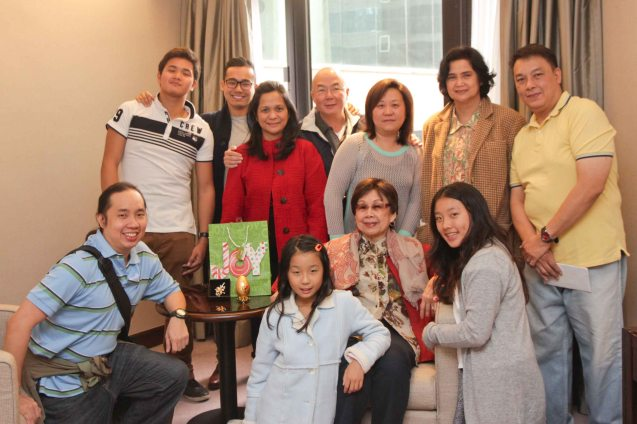 foreground from left: Jude Bautista, Hannah Bautista, Lilia B Yang , Kimberley Bautista, standing from left: Alfonso, JY, Joy, Tim, Hazel , Anne Marie Cenido and Donald Bautista. Photo was taken last December 26, 2012 in Hong Kong.