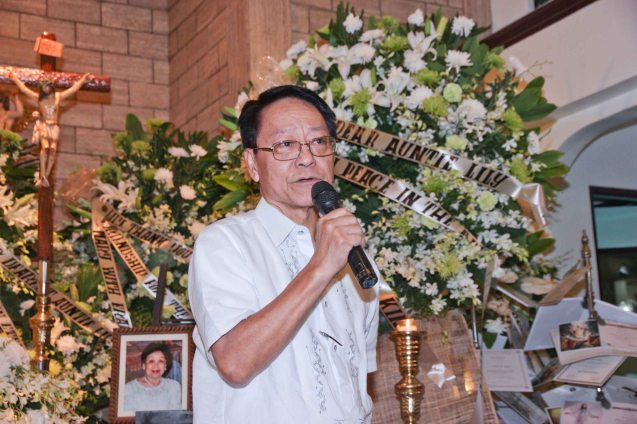 Atty Llewellyn Llanillo spoke during the wake at Sanctuario De San Jose Greenhills. Photo by Jude Bautista