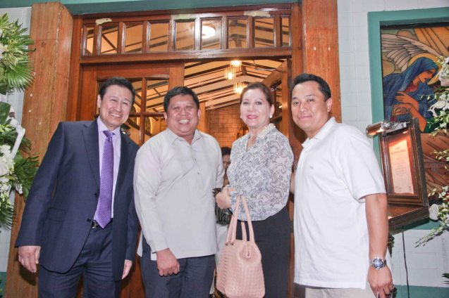 from left: Atty Frank Chavez, DOTC USEC Jojo Lotilla, Jean Chavez and George Bautista. Photo was taken during the wake at Sanctuario De San Jose Greenhills. Photo by Jude Bautista