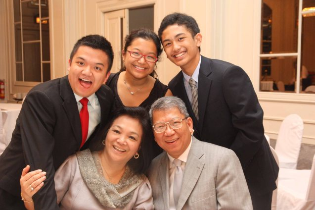 Seated: Lulu and Randy Salazar with their children standing from left: Richard, Lorieanne and RJ.   Randy and Lulu were one of the original love teams matched by Tita Lily. The pic was taken during their Silver Wedding anniversary. Photo by Jude Bautista