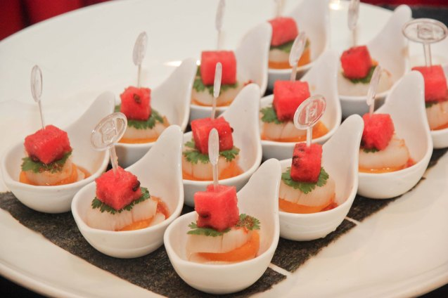 Chilled Fresh Scallop with Mango and Watermelon at Summer Palace in EDSA Shangri La Hotel. Tita Lily was such a foodie, she was in high spirits in the birthday bash thrown by Maggie Yum last December 9, 2012 at EDSA Shang Hotel. Photo by Jude Bautista