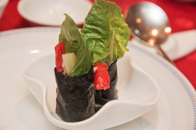 Avocado Salad roll at Summer Palace in EDSA Shangri La Hotel. Tita Lily was such a foodie, she was in high spirits in the birthday bash thrown by Maggie Yum last December 9, 2012 at EDSA Shang Hotel. Photo by Jude Bautista