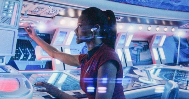 Uhura on her station at the Enterprise. Catch Star Trek Into Darkness in Newport Cinemas-Resort's World Manila, EASTWOOD City Mall, Lucky China Town Mall and Shang Rila Plaza mall.