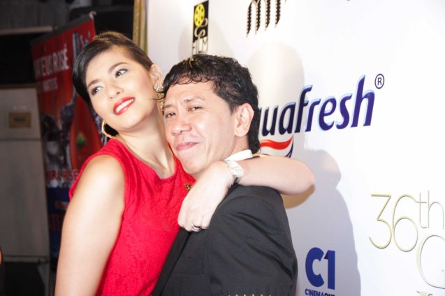 Assunta De Rossi hugs her BAYBAYIN director Auraeus Solito. Pic was taken during 36th URIAN awards night at the NBC tent last June 18, 2013. Photo by Jude Bautista