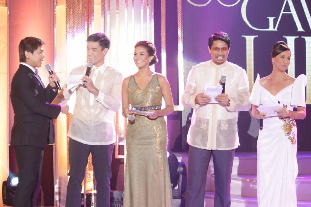 Hosts from left: Butch Francisco, Xian Lim, Iza Calzado, Richard Gomes and Cherie Gil. Pic was taken during 36th URIAN awards night at the NBC tent last June 18, 2013. Photo by Jude Bautista