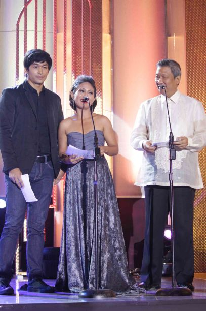 from left: Adrian Sebastian (BAYBAYIN), Angeli Bayani of ILOILO wc won Best Director at the Cannes Film fest and MPP member Dr. Nick Tiongson. Pic was taken during 36th URIAN awards night at the NBC tent last June 18, 2013. Photo by Jude Bautista