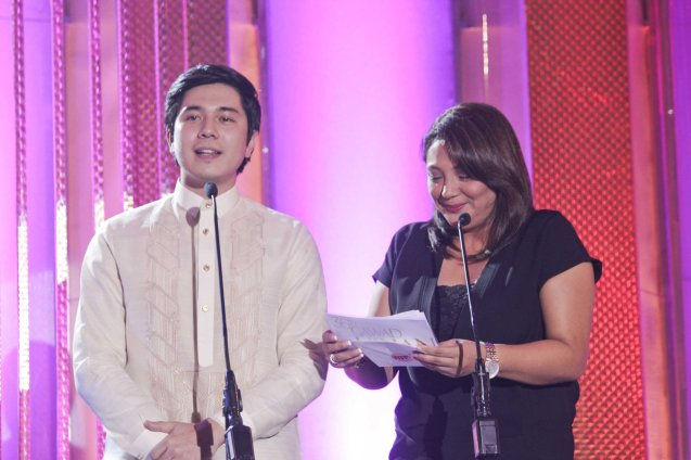 Last Year's Best Actor Paolo Avelino (ANG SAYAW NG DALAWANG KALIWANG PAA) and 2007 Best Actress Cherry Pie Picache (FOSTER CHILD) were presenters. Pic was taken during 36th URIAN awards night at the NBC tent last June 18, 2013. Photo by Jude Bautista