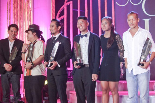 from left: Best Production Design- Brillante Mendoza (THY WOMB), Best Music-Diwa De Leon (BAYBAYIN), Best Documentary- Benito Bautista (HARANA), Best Cinematography- Whammy Alcazaren, Sasha Palomares (COLOSSAL) and Best Supporting Actor- Art Acuña (POSAS). Pic was taken during 36th URIAN awards night at the NBC tent last June 18, 2013. Photo by Jude Bautista