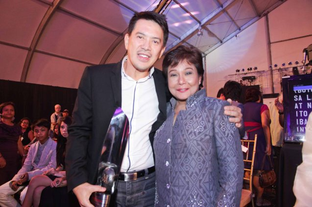 Best Production designer – Brillante Mendoza with 5-time Best Actress Nora Aunor both of THY WOMB. Pic was taken during 36th URIAN awards night at the NBC tent last June 18, 2013. Photo by Jude Bautista