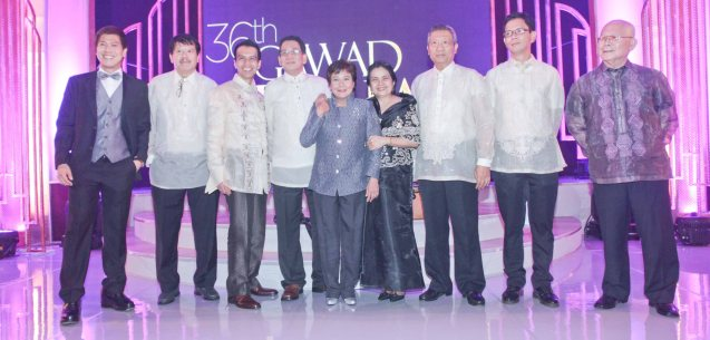 Superstar with Manunuri Ng Pelikulang Pilipino- from right:  Natl Artist for Literature Bien Lumbera, Rolando Tolentino, Dr. Nick Tiongson, Benilda Santos, Best Actress Nora Aunor (THYWOMB), Tito Valiente, Dr. Mike Rapatan, Mario Hernando and Butch Francisco. Pic was taken during 36th URIAN awards night at the NBC tent last June 18, 2013. Photo by Jude Bautista