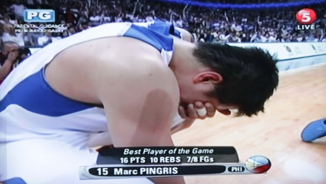 Marc Pingris sheds tears of joy. Watch SMART Gila vs IRAN tonight at the MOA Arena tonight or on TV5 at 830pm.
