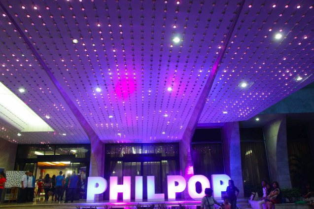 PHILPOP sign lights up the MERALCO building façade and theater. Catch the PHILPOP 2013 finalists on their mall tour in EASTWOOD Central Plaza (Aug 9), LUCKY CHINATOWN Atrium (Aug 17) and VENICE PIAZZA at McKinley Hill (Aug 18). Photo by Jude Bautista