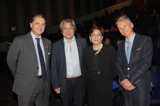 from left: Italian Amb. Massimo Roscigno, FDCP Chairman Briccio Santos, Shangri La Plaza Mall GM and EVP Lala Fojas and EU Head of Political and Press Information Lubomir Frebort attended Cine Europa 16 opening film A ROYAL AFFAIR. Catch European films for free during Cine Europa at Shang Cineplex, Shangri-La Plaza mall from Sept 5-14, 2013. Photo by Jude Bautista