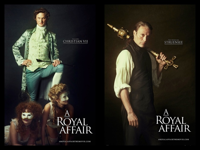 from left: Christian VII (Mikkel Boe Følsgaard) was known to frequent brothels and Dr. Johann Friedrich Struensee (Mads Mikkelsen) in A ROYAL AFFAIR. Catch European films for free during Cine Europa at Shang Cineplex, Shangri-La Plaza mall from Sept 5-14, 2013.