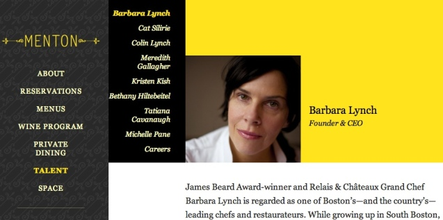 Barbara Lynch is one of the best Chefs and American restaurateurs she also happens to be Kristen's boss, discoverer and mentor. Photo from MENTON official site: http://mentonboston.com/talent/barbara-lynch/