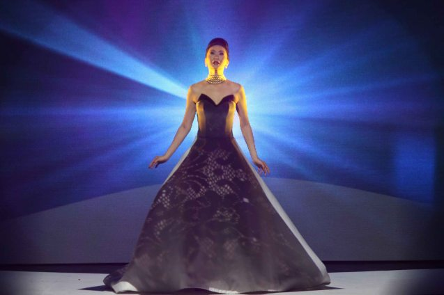 The Finale was spectacular projection matting on supermodel Marina Benipayo. All collections/themes were projected on her white dress designed by Francis Libiran. Photo was taken during the Jewelmer Gala at the NBC tent last October 15, 2013. Photo by Jude Bautista